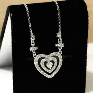 "Jewelry - CUSTOM 14k White Gold Diamond Heart 17"" Necklace!!"